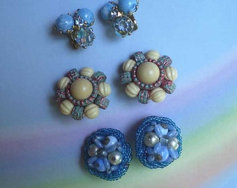 Vintage 50s Lot 3 Clip-On Earrings Blue Beads