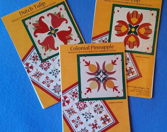 Three Uncut Cinnamon Stitches Quilt Block Patterns - Dutch Tulip, Wine Cup, Colonial Pineapple - by Piece O' Cake Designs
