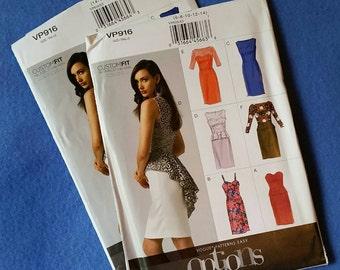 Uncut Vogue Patterns Easy Options Sewing Pattern VP916 - size 14 16 18 20 22 (size E5) - Misses'/Misses' Petite Dress - Custom Fit
