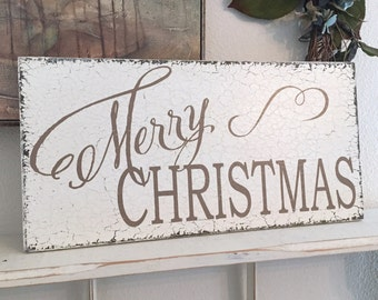 MERRY CHRISTMAS, Holiday Decor, Merry Christmas Signs | 9 x 18