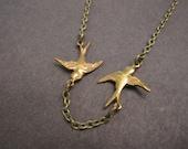 Bird Necklace, Bird Wings, Wildlife, Feathers, Bird Lover, Minimalist Necklace, Brass Birds, Lovebirds, Tiny Birds, Stocking Stuffer