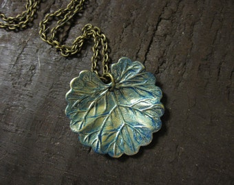 Lily Pad Necklace, Lily Pad, Nature Inspired, Nature Necklace, Leaf Necklace, Spring, Summer Necklace, Modern, Blue Green Patina, For Her