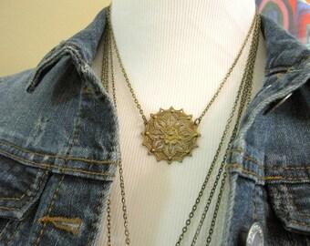 Gold Gypsy Necklace, Gold Patina, Filigree, Web, Boho Necklace, Bohemian, Layering Necklace, Gold Pendant, Boho Jewelry, Gypsy Jewelry