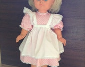 "Vintage-style dress and apron for 22"" doll"