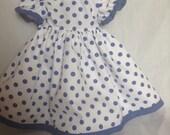 """Blue Polka Dot Dress for 18"""" doll"""
