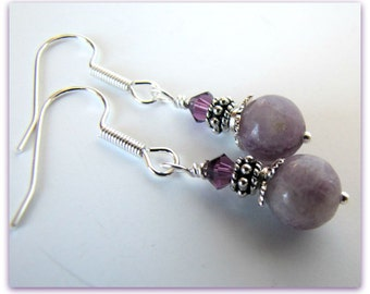 Chinese Charoite Gemstone Beaded Earrings, Amethyst Crystals, Gemstone Dangles, Silver Rondells, Surgical Steel Earwires  Item # 1110
