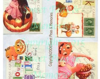 Vintage Vibrant Halloween Digital Collage Sheet