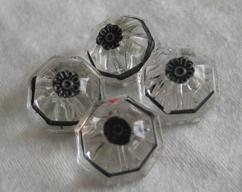 Set of 4 VINTAGE Small Chunky Clear Glass with Metal Flower  BUTTONS
