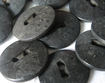 Set of 25 VINTAGE Small Pressed Design Black Plastic BUTTONS
