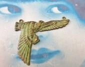 Hand Aged Verdigris Patina Brass Egyptian Bird Ibis Connector Charm 720VER x1
