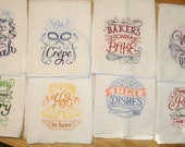 Machine Embroidery Kitchen Hand Towels Set of 8