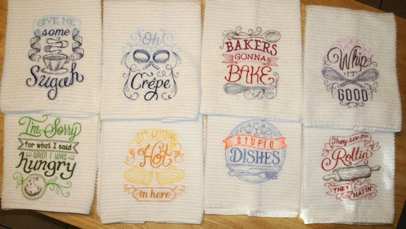 Machine embroidery kitchen hand towels set of
