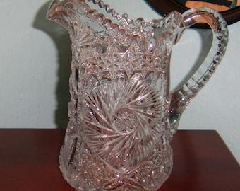 Antique EAPG Pinwheel Water Pitcher UV Reactive Glass