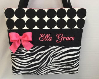 Dots and ZEBRA  Print ... Tote .... Diaper  Bag ... Personalized FREE