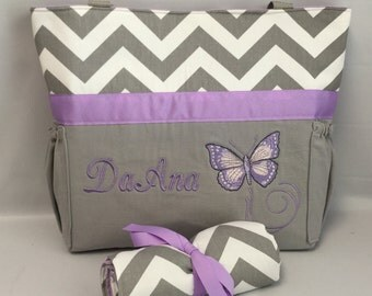 PURPLE Butterfly... Diaper Bag Set ... Gray CHEVRON .. Bottle Pockets ... Changing Pad