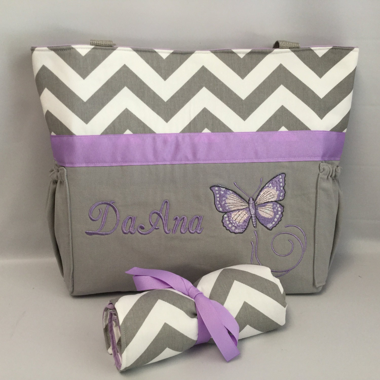 purple butterfly diaper bag set gray chevron bottle. Black Bedroom Furniture Sets. Home Design Ideas