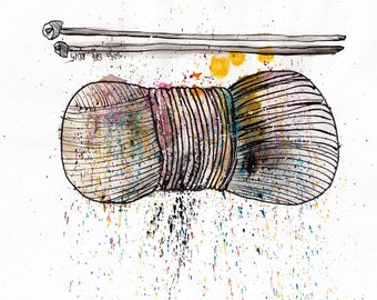 a4 ink drawing - knitting supplies painting - yarn and needles