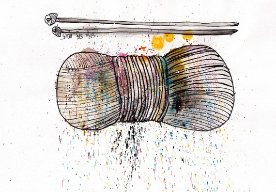 Drawing Knitting Needles : A ink drawing knitting supplies painting yarn and needles