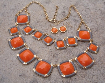 Necklace and Earring Set, Bold Orange and Gray Necklace and Earring Set