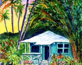 "Kauai Plantation Cottage - 5""x7"" Art Prints - Whimsical House Art - Vacation Cottage Print - Hawaiian House Hale - Home Decor Giclee Prints"