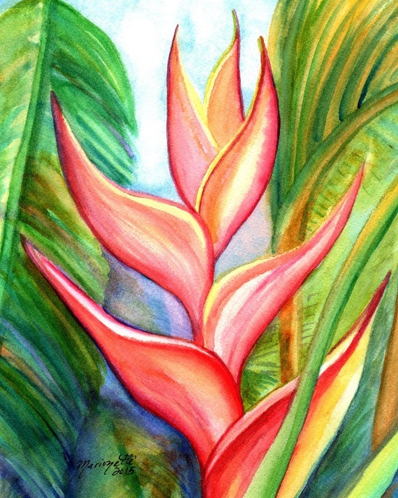 Heliconia Original Watercolor Exotic Flower by kauaiartist