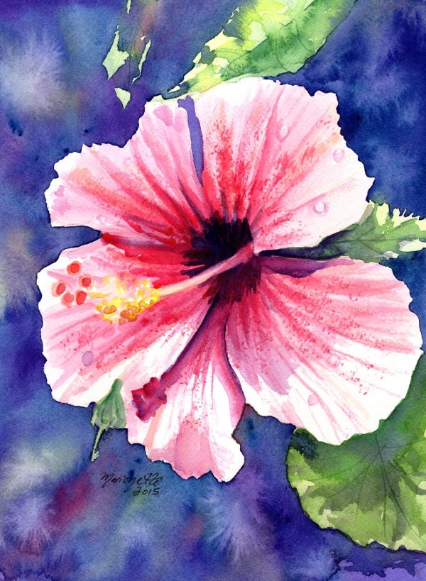 Original Watercolor Painting Kauai Hibiscus Tropical Flower