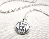 Tiny German Shorthaired Pointer necklace, silver German Shorthair Pointer, dog jewelry, memorial necklace, German Short Hair Pointer