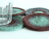 Hand-knit Felted Wool Coasters - Green, Gray, Brown
