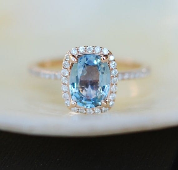 Blue Green sapphire engagement ring Teal sapphire 1 59ct
