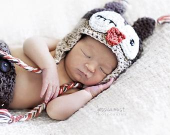 Crochet Baby Owl Hat, Baby Girl Hat, Newborn Owl Hat, Baby Boy Owl Hat, Baby Animal Hat, Crochet Baby Hat, Baby Photo Prop, Halloween Hat