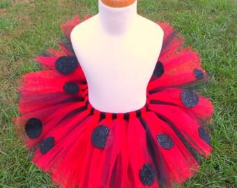 Ladybug Tutu, SEWN Tutu, Ladybug Costume, Halloween Costume, Felt Spots SEWN to Tulle, Lady Bug Skirt, Toddler Ladybug, Baby Ladybug