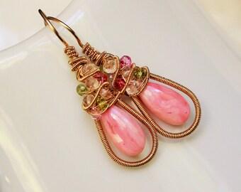 Pink Opal Jubilee Earrings
