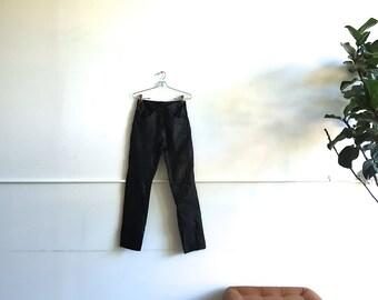1970s Black Leather Jordache Jeans.