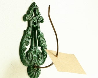 Vintage Industrial Wall Mount Receipt Holder - green -  Cast Iron Metal