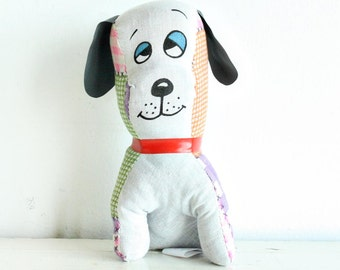 Vintage superior toy and novelty - plush hound dog - gingham patterns - purple green orange - sleepy eyes
