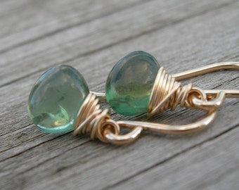 Green Apatite Gold Wire Wrapped Earrings