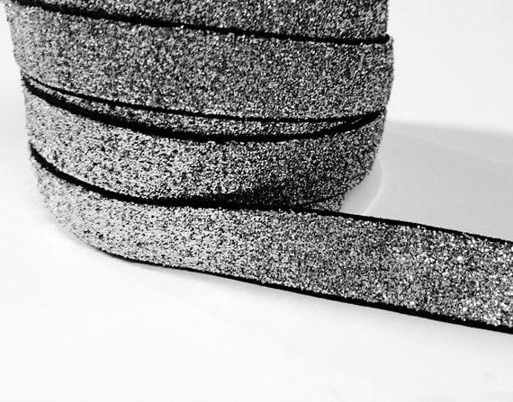5/8 Glitter Stretch Velvet Elastic 5 YARDS - NO FLAKE - Sparkle Black