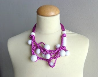 Purple white pink necklace