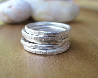 Thin Sterling Silver Stacking Rings Set of 5 Hammered Stackable Rings Silver Ring Set Minimalist Rings Everyday Jewelry - Stackers