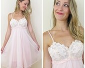 70s Warner's Pink Empire Waist Baby Doll Nightie or Nightgown, Size XS to Small, 32 Bust