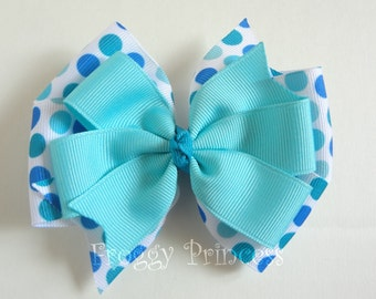 Aqua Summer Bow - M2MG Double Pinwheel - No Slip Velvet Grip Hair Clip