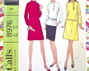 Vintage 1960s Womens Dress Pattern with Skirt and Blouse - McCalls 8976