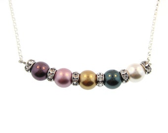 Swarovski Crystal Birthstone Color Pearl Necklace - Five Birthstones (SCB005).