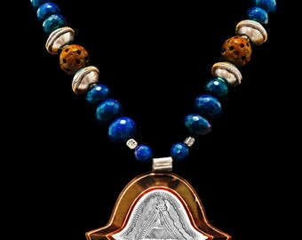 Magnificent Vintage Hamsa on Ebony w/Lapis