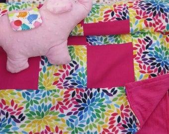 patchwork quilts_patchwork blankets_bright rainbow petals