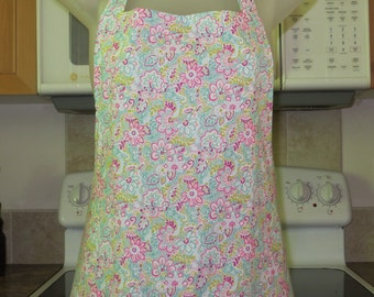 womens aprons - full aprons - floral aprons - miami vice flowers