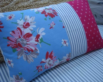 FRenCH CoTTage Red Blue FloWerS PiLLoW SHaBBy CHiC Blue Ticking Red Polka Dot
