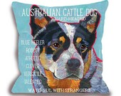 Australian Cattle Dog pillow blue heeler home decor dog portrait customize with pet's name