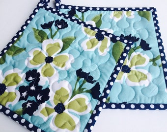 Floral Potholders, Joel Dewberry Potholders, Designer Potholders, Quilted Pot holders, Contemporary Potholders, Set of 2 potholders
