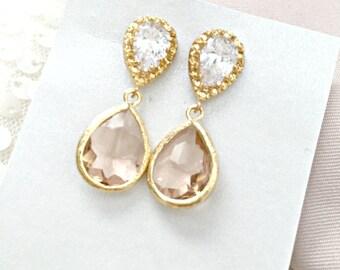 Gold Peach Bridesmaid Earrings, Peach Glass, Blush, Pink, Wedding Earrings, Peach Jewelry, Gold Jewellery